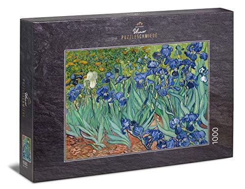 Ulmer Puzzleschmiede - Puzzle Van Gogh, Irisis - Puzzle 1000 pièces - Iris Devant Une Prairie de Fleurs colorées (Van Gogh, Saint-Rémy, 1889)