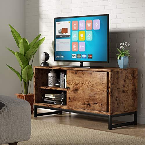 Soporte de TV para televisores de hasta 48 pulgadas, mesa de TV con Puertas Correderas para sala de estar Centro de entretenimiento