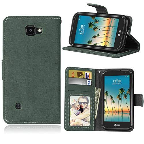 Ycloud Geldbörse Hülle für LG K3 2017 Smartphone, Matt Textur PU Leder Magnetisch Flip Handyhülle mit Standfunktion Kartenfächer Entwurf (Grün)