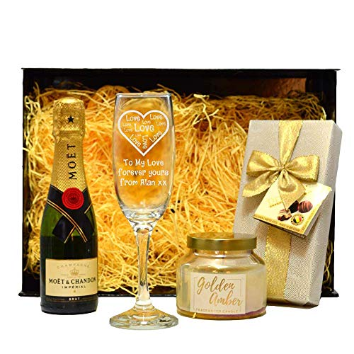 Personalised Hamper Gift Set for Women Engraved/Love Heart Flute Glass Champagne/Chocolates/Candles/Prosecco/Sweets/Cute/Box/33.5 x 24.5 x 10.5 Centimetre