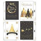 20 Weihnachtskarten, Weihnachts-Postkarten im Set, 4 unterschiedliche...
