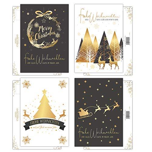 20 Weihnachtskarten, Weihnachts-Postkarten im Set, 4 unterschiedliche Motive, je 5 Stück, Weihnachtspostkarten, Karten mit