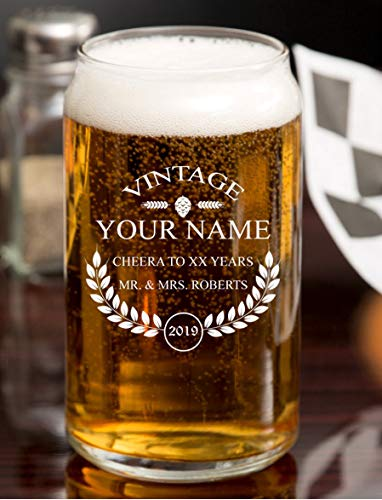 PersonalizedBeer Glass - Custom Engraved Beer Mug, Pint Glass, Pilsner Glass, Pitcher. | Add your own Engraved Text - Vintage Design (Beer Can Glass 16oz)
