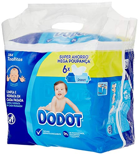 Dodot Toallitas para Bebé, 6 Paquetes de 64 Unidades, 384 Toallitas
