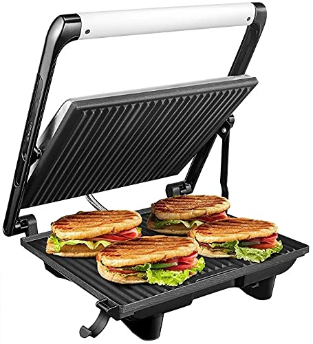 KATTICH 4 Slice 2000W Steel body electronic jumbo griller for sandwiches, paninis, chicken with non stick big size pate for home, commercial, restaurant use (SILVER)