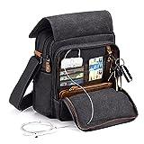 Plambag Small Messenger Bag with Multiple Pockets, Men Crossbody Bag, Canvas Tablet Bag