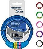 probock Fahrradschloss für Kinder Zahlen-Code-Kombination-Kabel-Schloss für Kinderfahrrad Laufrad - Maße 10 x 650 mm | Edition 2021 (Blau)