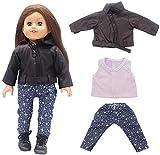 Yeaser Puppenkleidung für 46 cm große American Girl Puppen-Outfits – Lederjacke, T-Shirts und...