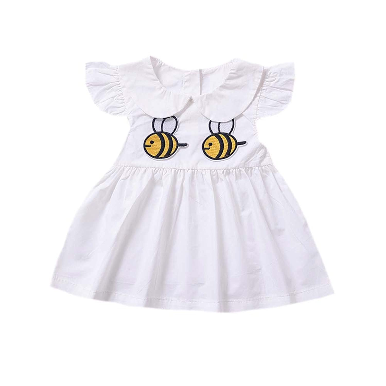 Lemcos 子供 ワンピース 蜂プリント ノースリーブ コットン 子どもドレス 女 可愛い スカート 子供服 女の子用 春衣装 女児