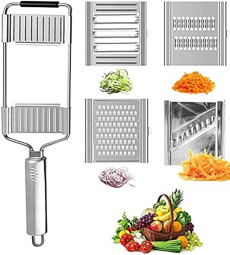 Slice&GO grönsaksskivare 4 i 1 rostfritt stål rivjärn skärare-superblad skärare tunn skiva Julienne-skalare justerbart köksverktyg för kräver sallad lök potatis 4 blad