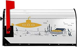 """NCXIAO Magnetic Mailbox Cover - 18""""W x 21""""H, Submarine Fish and A Treasure Chest in Sea Bottom,Mailbox Wraps Post Letter Box Cover"""