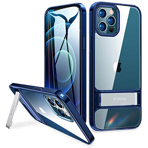 TORRAS MoonClimber Compatible for iPhone 12 Pro Max Case [5X Military Armor-Level Shockproof][Three Stand Ways] Protective Slim Hard Clear Phone Cover Case with Sturdy Metal Kickstand 6.7''-Blue