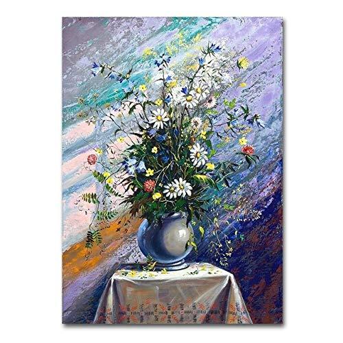 tzxdbh Modern Vintage Bloem Olie Schilderij Print op Canvas Abstract Bloem Muur Kunst Canvas Schilderij Muur Foto's voor Eetkamer Decor F1282 32x44 Inch Unframed