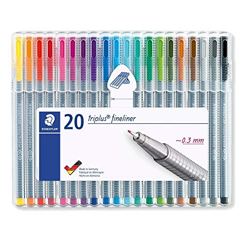 STAEDTLER triplus fineliner, 0.3mm metal-clad tip, ergonomic triangular barrel, for writing, drawing and coloring, set of 20 fineliners, 334 SB20