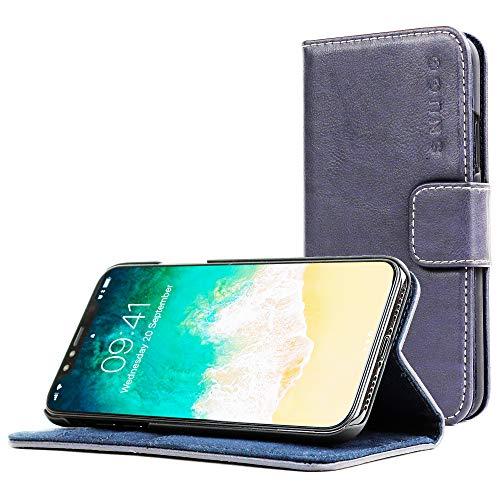 Snugg Cover iPhone XS Max, Apple iPhone XS Max Flip Custodia Case [Slot Per Schede] Pelle Portafoglio Progettazione Esecutiva [Garantita a Vita] - Fiume Blu, Legacy Range