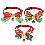 QKURT - Set di 3 collari natalizi per animali domestici, con renne, alberi di Natale, fiocchi di neve, fiocchi di neve e campana rossa, grazioso papillon alla moda per gatti e cani di piccola taglia