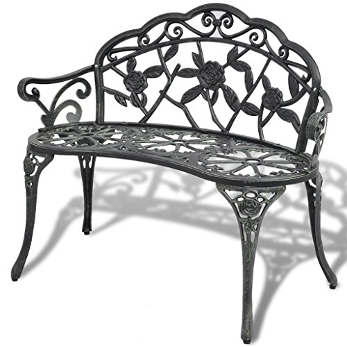 Anself 2 Seater Garden Bench Outdoor Seating with Decorative Cast Aluminium Backrest Green