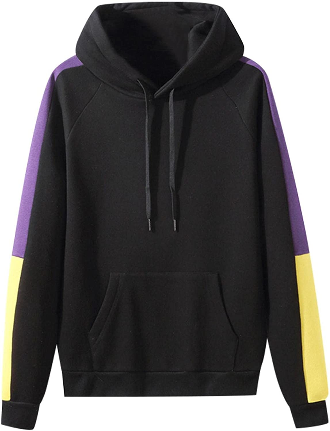 Qsctys Men's Fashion Hoodies & Sweatshirts Patchwork Athletic Pullover Crewneck Sports Clothing Soft Blend Fleece Hooded