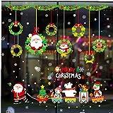 AMOYER Feliz Navidad Regalos de Pared Pegatinas decoración de Santa Claus Ventana del árbol de Cristal de la Pared Pegatinas Removibles Etiquetas de la Pared de Vinilo