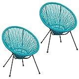 Pack de 2 sillones de jardín Agave Acapulco de rattán y Metal Turquesa de 73x80x85 cm - LOLAhome