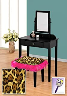 The Furniture Cove New Black Wooden Make Up Vanity Table with Mirror & Leopard Animal Print Themed Bench With Hot Pink Feather Style Skirt Around Seat!