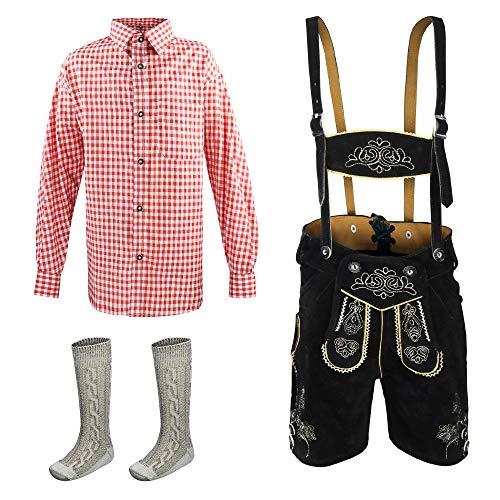 Kinder Lederhose 3erSET Kurze Trachtenlederhose Trachten Hemd Jungen Mädchen Gr.104,116,128,140,152,164, Schwarz, 116