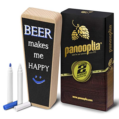Beer Tap Handle and Two Liquid Chalk Markers Set - Beechwood Keg Tap Handle for Standard Faucets and Kegerators with Reusable Chalkboard - Suitable for Home Brew, Bars, Kegs and Draft Beer