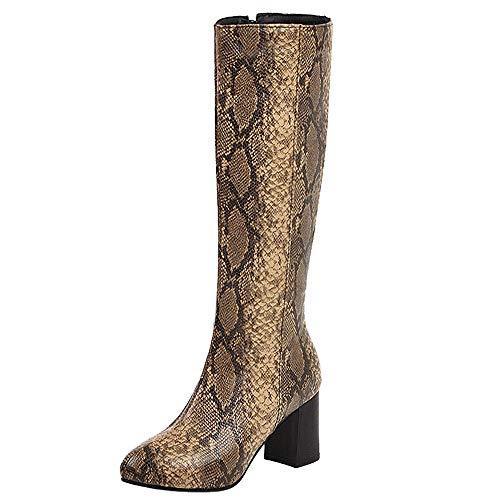 Lydee Mujer Moda Botas Altas Tacon Ancho Zipper Dress Botas largas Ani