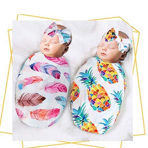 QTECLOR Newborn Receiving Blanket Headband Set - Unisex Soft Baby Swaddle Girl Boy Gifts (Pinapple+Feather)