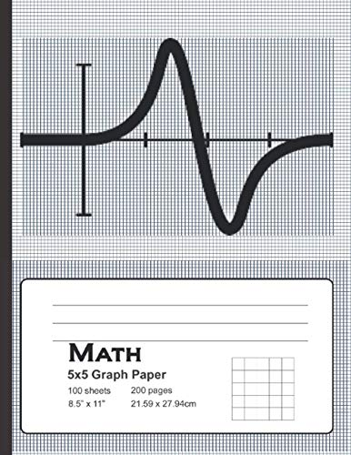 Math Graph Paper: 5x5 Graph Paper, 100 Sheets, Notebook|8.5 x 11|100 pages