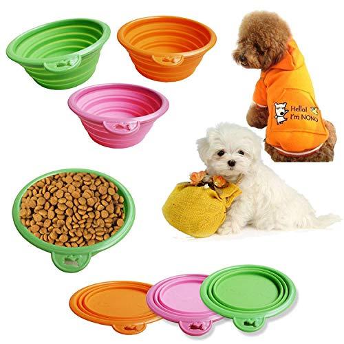 Promworld Rutschfester Silikon Reisenapf,Pet Silikon Faltschale-blau,Reisenapf Futternapf für Hund und Katze