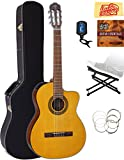 Takamine GC1CE Classical Cutaway Acoustic-Electric Guitar - Natural Gloss Bundle with Hard Case, Foot Stool, Cable, Tuner, Strings, Austin Bazaar Instructional DVD, and Polishing Cloth
