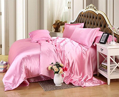 """Feeling Pampered 4 Piece Satin Sheet Set Olympic Queen Size with 15"""" deep Pocket Baby Pink Satin Listing"""