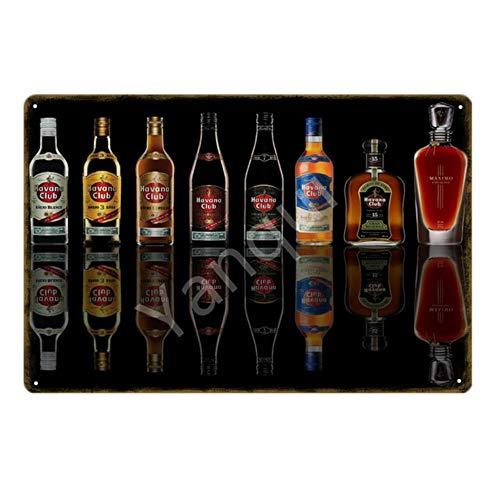 ShAwng Havana Club Bier Metall Poster Blechschilder Wandkunst Malerei Plaque Für Bar Pub Cafe Wohnkultur Vintage Retro Eisenplatte YN188-YB0132B, 20x30 cm