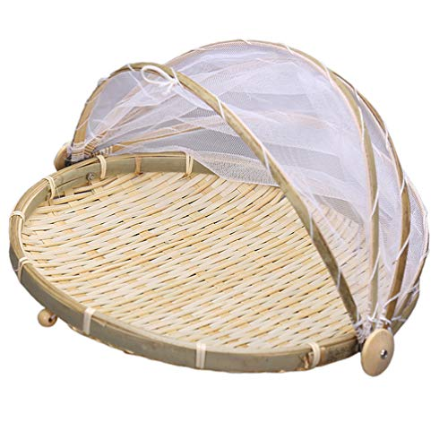 Cabilock Cesta de Bambú para Servir Comida Cesta con Gasa Cesta de Almacenamiento de Pan de Frutas Vegetales Servidor de Mesa de Comida con Cubierta Cesta de Picnic 42Cm