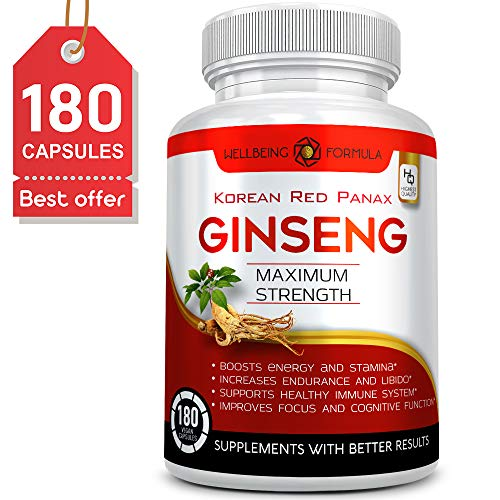 180 Capsules-Korean Red Panax Ginseng Extract-1000mg High Ginsenosides Extra Strength Red Ginseng Root Powder-Natural Energy & Performance Enhancement Pills-Sexual Wellness Supplements for Men & Women
