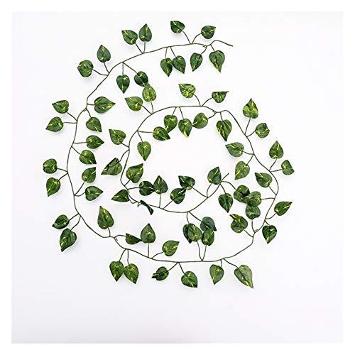 ZWSHOP - Planta de hiedra artificial artificial de 2 m, hojas de seda verdes para festivales, bodas, fiestas, decoración del hogar, colgar en la pared (color: C)