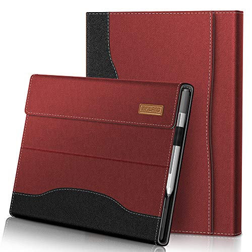 INFILAND Microsoft Surface Pro Case 7+(2021)/Surface Pro 7(2019)/ Surface Pro 6(2018)/ Surface Pro 5(2017)/ Surface Pro 4(2016), Front Support Cover Compatible with Business Pocket,Red Wine