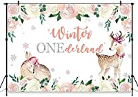 冬のワンダーランドの背景の女の子最初の誕生日パーティーの写真ブースの背景7x5ftシルバーグリッター花の冬ワンダーランドの写真の背景パーティーの装飾バナー