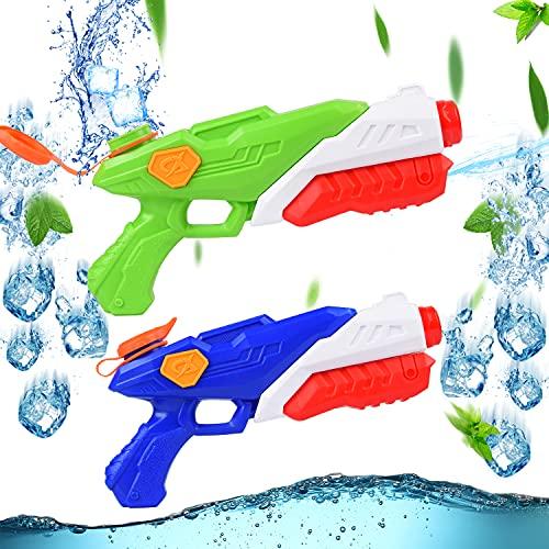 Herefun 2 Pack Pistola de Agua Juguete, 316ML Pistola de Agua de Verano con 10M de Rango, Pistola de Agua Niños Adultos, Juguete Pistola de Pulverización de Agua para Piscina, Jardín, Playa