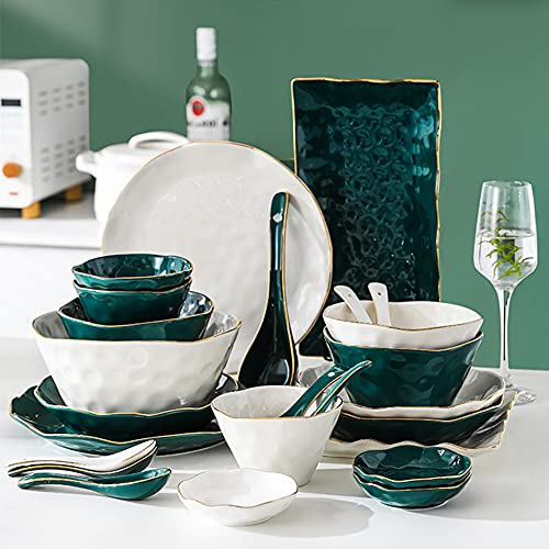52 Pcs Dinnerware Sets, Nordic Style Bone Porcelain Tableware Set with Plates Dish and Bowls, Green White Ceramic Dinner Set with Gold Rim for Home Kitchen and Dinning, Service for 10