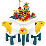 INKPOT Kids Table and Chair Set 165pcs Marble Run Bricks Toddler Activity Table Compatible Large Building Blocks Table with Storage for Boys Girls 3 4 5 6