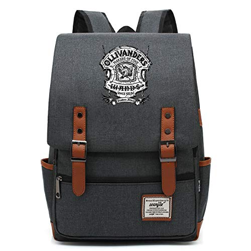 MMZ Mochila de buho Impermeable para Adolescentes Harry Potter Magic School Bag Unisex Regalo L Gris Oscuro