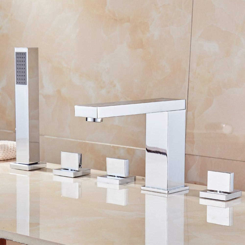 Kitchen Sink Taps Bathroom Sink Taps Square Split Copper Chrome Faucet Five-Piece Bathtub Faucet Five-Hole Shower Set Faucet greenical Faucet