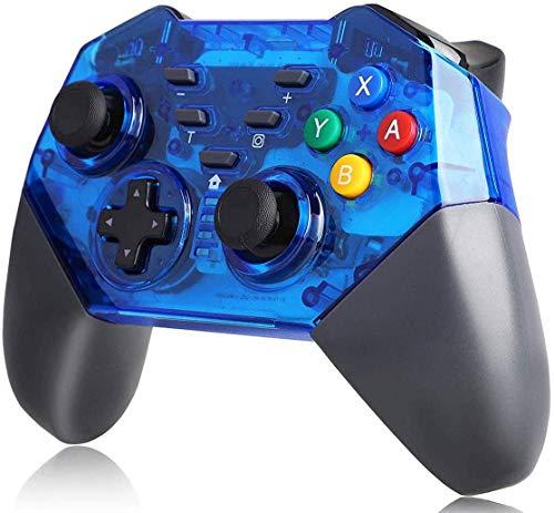 REDSTORM Mando para Nintendo Switch, Gamepad inalámbrico con Turbo ajustable Dual Shock Gyro Axi para PC/Switch (azul y negro)