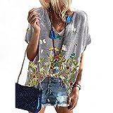 Jersey De Verano De Moda para Mujer, Camisetas Sueltas De Manga Corta con Estampado Floral, Camiseta BáSica Informal De Talla Grande