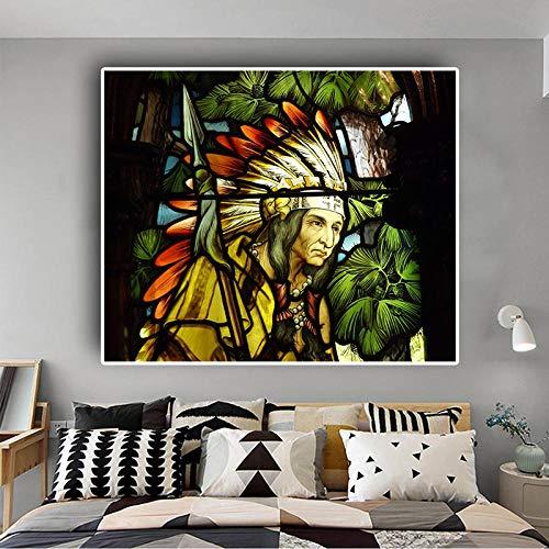 Inheems Indiaas Portret Groene Plant Canvas Schilderij, Posters en Prints Pop Art Muurfoto voor Woonkamer 60x80cm geen Frame