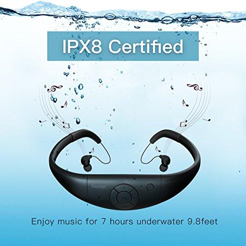Tayogo 8GB Waterproof MP3 Player, Bluetooth Swimming Headphone Underwater 10FT...