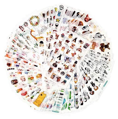 Paquete de Pegatinas de decoración para niños 1500+ diseños 72 Hojas 12 Temas Pegatinas de Papel de Washi Pegatinas Surtidas de decoración Calcomanía Adhesiva Parches de Graffiti (Inocencia)