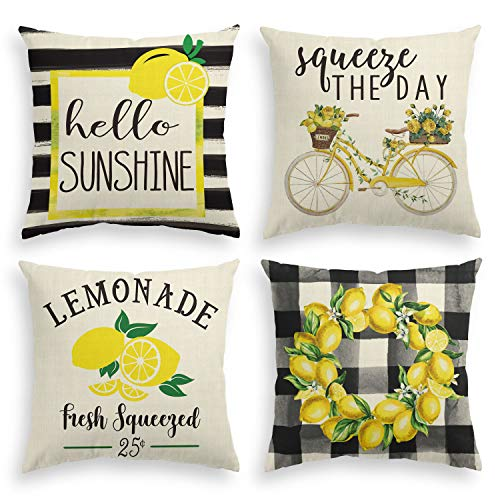 AVOIN Watercolor Stripes Hello Sunshine Throw Pillow Cover, 18 x 18 Inch Buffalo Plaid Lemon Wreath Bicycle Squeeze The Day Cushion Case for Sofa Couch Set of 4
